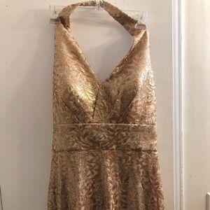 V neck backless Gold floral long dress